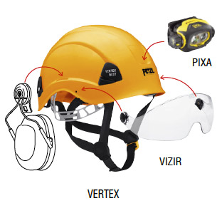 A protective face shield, hearing protections and PIXA headlamp mounted on VERTEX helmet